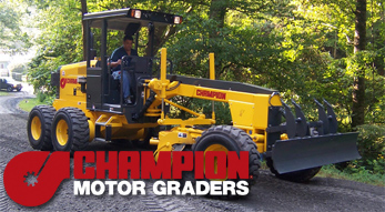 Champion motor graders for sale or rent